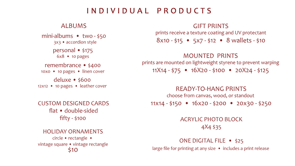 PRICING-2018-Individual-Items   Wedding Photography